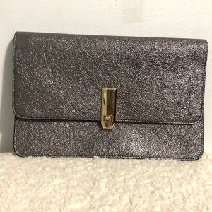 3/$30 Express silver foiled clutch